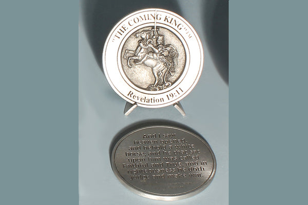 The Coming King Medallion with Base (in Pewter or Bronze)