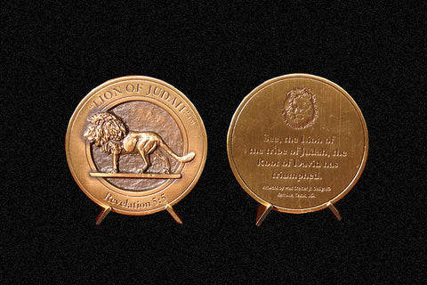 """Lion of Judah"" Medallion with Base in Bronze or Pewter"