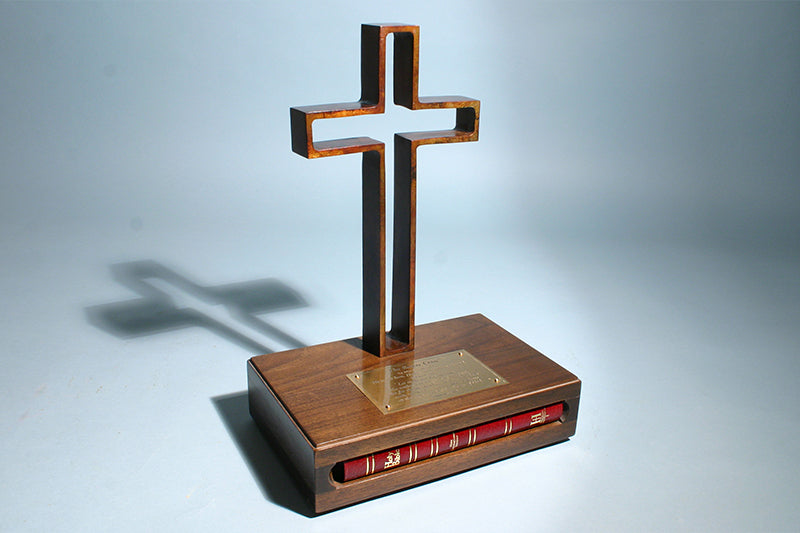 "The Empty Cross 12"" Bronze Sculpture (with Bible)"