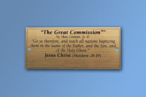 """The Great Commission"" Brass Name Plate"