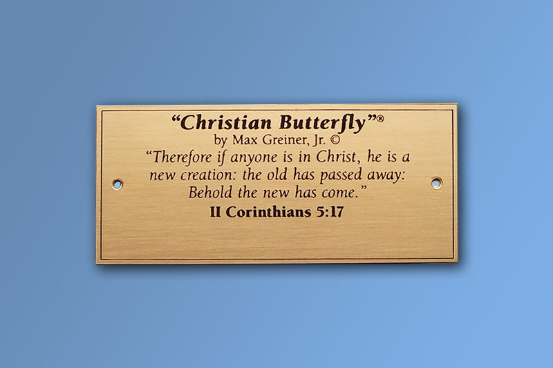 Christian Butterfly Brass Name Plate