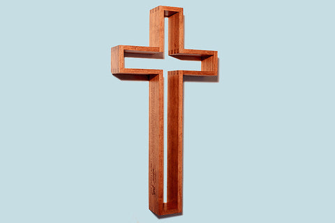 "The Empty Cross 24"" tall Wood Cross in Mesquite or Walnut (wall mount)"
