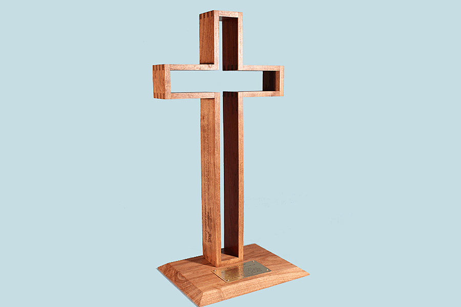 """The Empty Cross"" 24"" tall Wood Cross in Mesquite or Walnut (with base)"