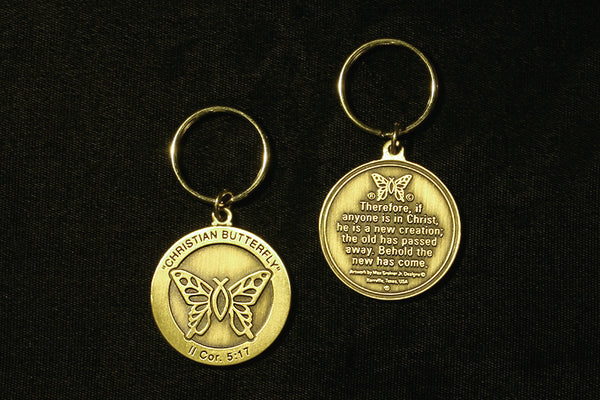 Christian Butterfly  Key Ring (in Bronze or 24k Gold Plated)