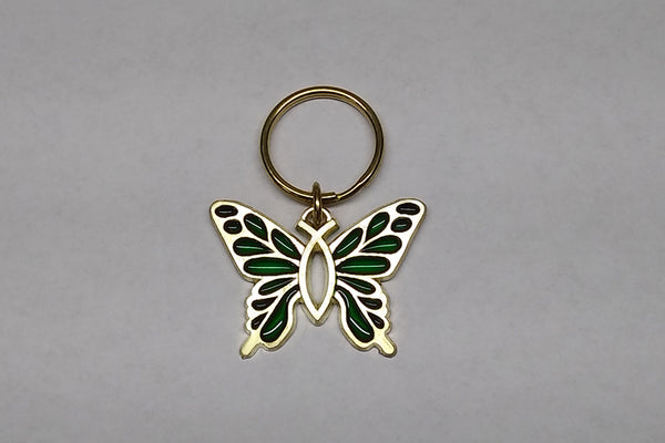 """Christian Butterfly"" Key Ring in Acrylic & Brass"