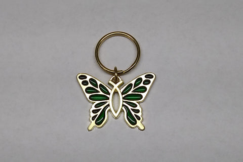 Christian Butterfly Key Ring in Acrylic & Brass (in 2 colors)