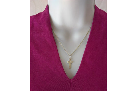 "The Empty Cross Charm - 3/4"" 14k Gold"