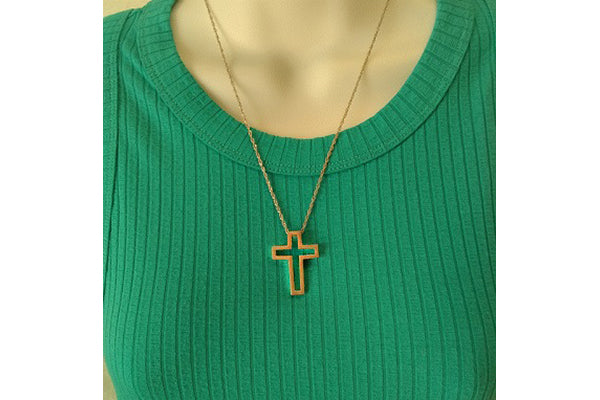 "The Empty Cross Charm - 1-1/4"" 14k Gold"