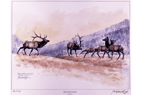 "Wildlife: Drawing Print ""Rocky Mountain Challenge"" (Elk)"