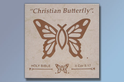 "Etched Tile ""Christian Butterfly"" 16"" Tile"