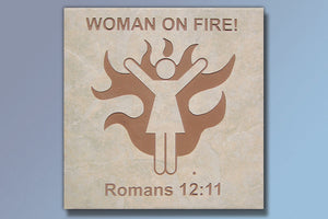 "Etched Tile ""Woman on Fire"" 16"" Tile"