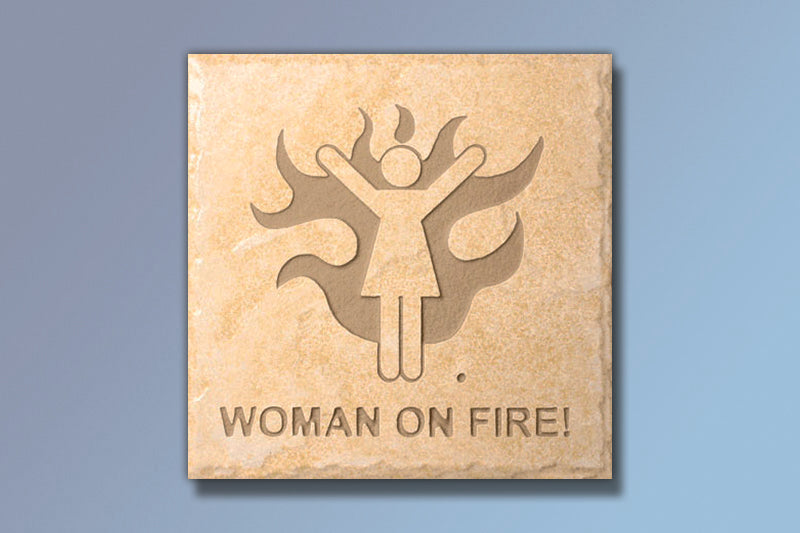 "Etched Tile ""Woman on Fire"" 6"" Etched Tile"