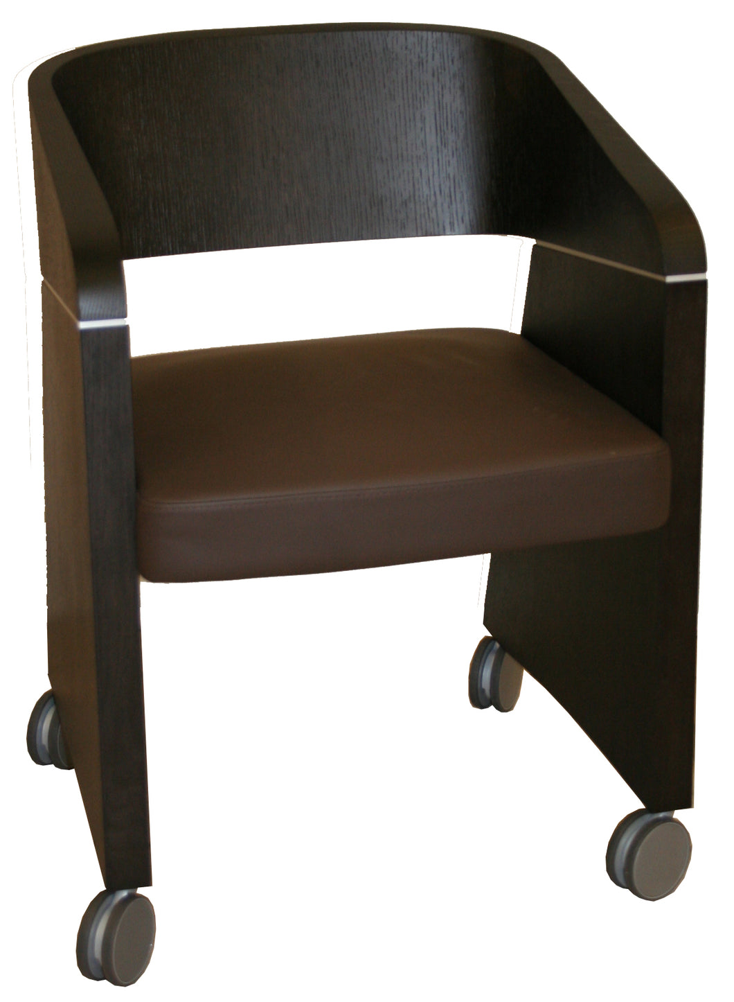 Chair - Apple Con Wenge Shell Brown Leather Seat