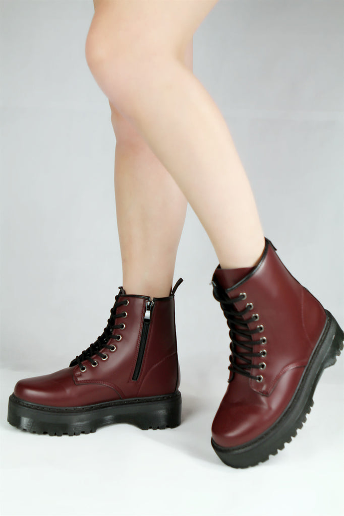 Chunky Lace Up Hiker Boots Wine