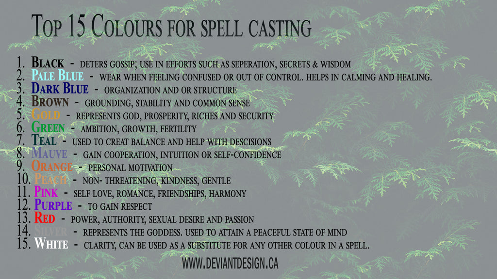 Top 15 Colours in Spell Casting