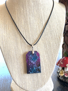 Large tomb shaped teal and purple pendant