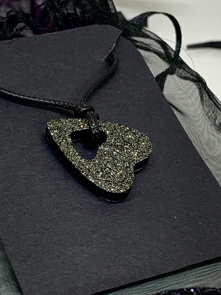 Black Metal Shimmer Planchette Necklace