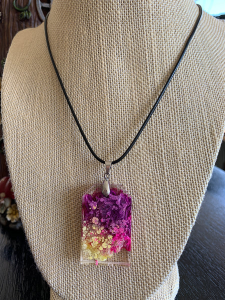 Large tomb-shaped pendant ~ purple pink and yellow