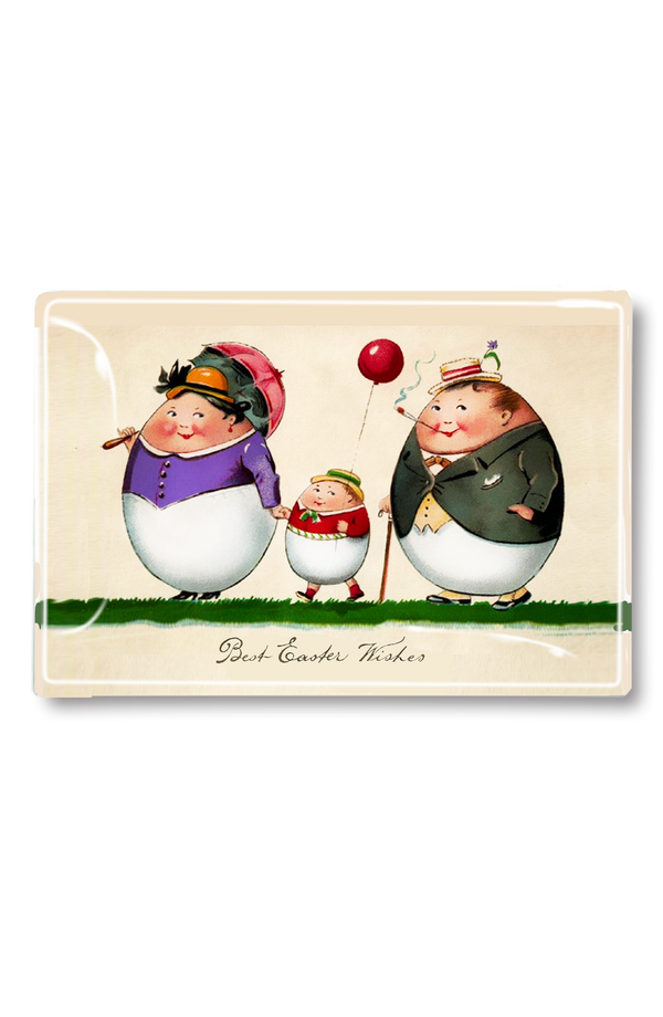 Three Egg Family Best Easter WIshes Decoupage Glass Tray