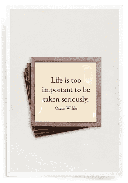 Bensgarden.com | Life Is Too Important Copper & Glass Coasters, Set of 4 - Bensgarden.com