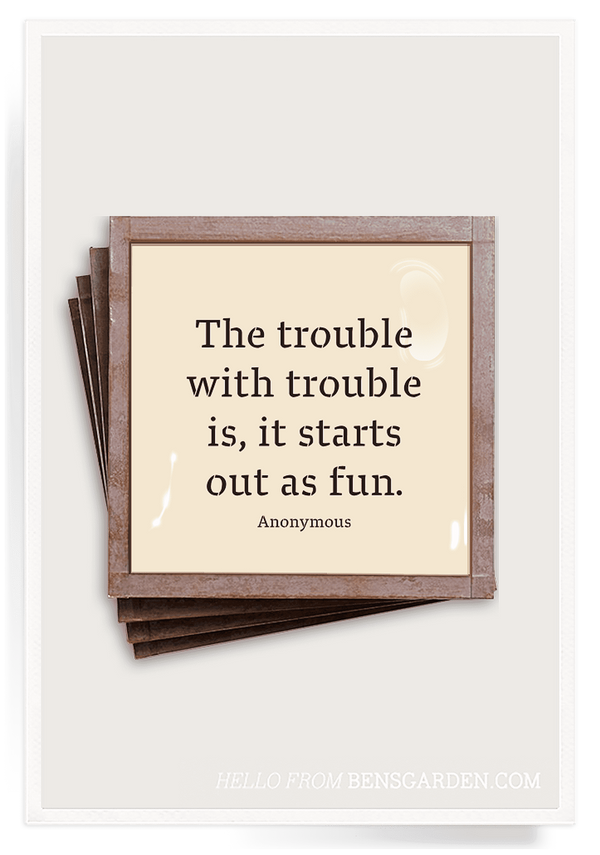 Bensgarden.com | The Trouble With Trouble Copper & Glass Coasters, Set of 4 - Bensgarden.com