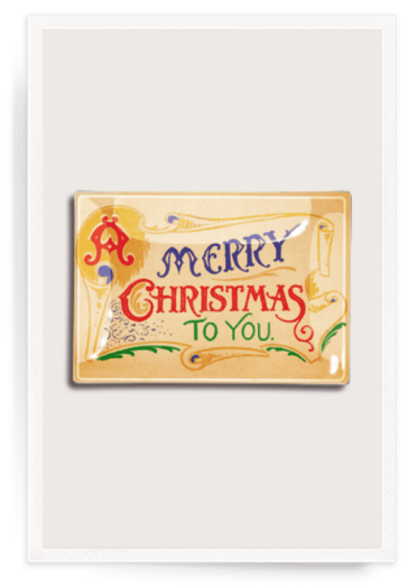Bensgarden.com | Vintage Merry Christmas Decoupage Glass Tray - Bensgarden.com
