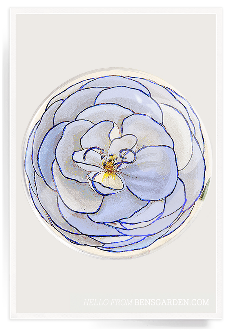 Bensgarden.com | Blue Petal Flower Round Decoupage Glass Tray - Bensgarden.com