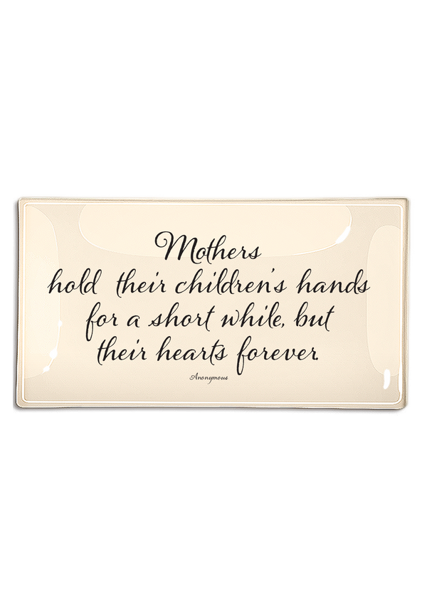 Mothers Hold Their Children's Hands Decoupage Glass Tray