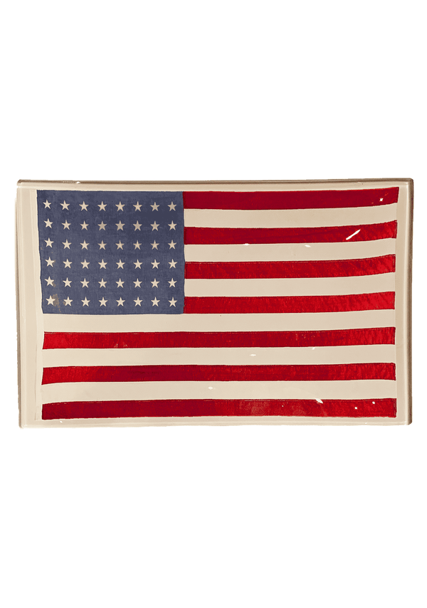 Bensgarden.com | Vintage American Flag Decoupage Glass Tray - Bensgarden.com