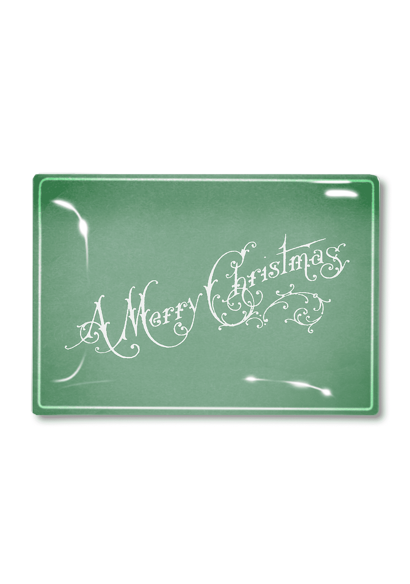 Bensgarden.com | Vintage Mint Merry Christmas Script Decoupage Glass Tray - Bensgarden.com