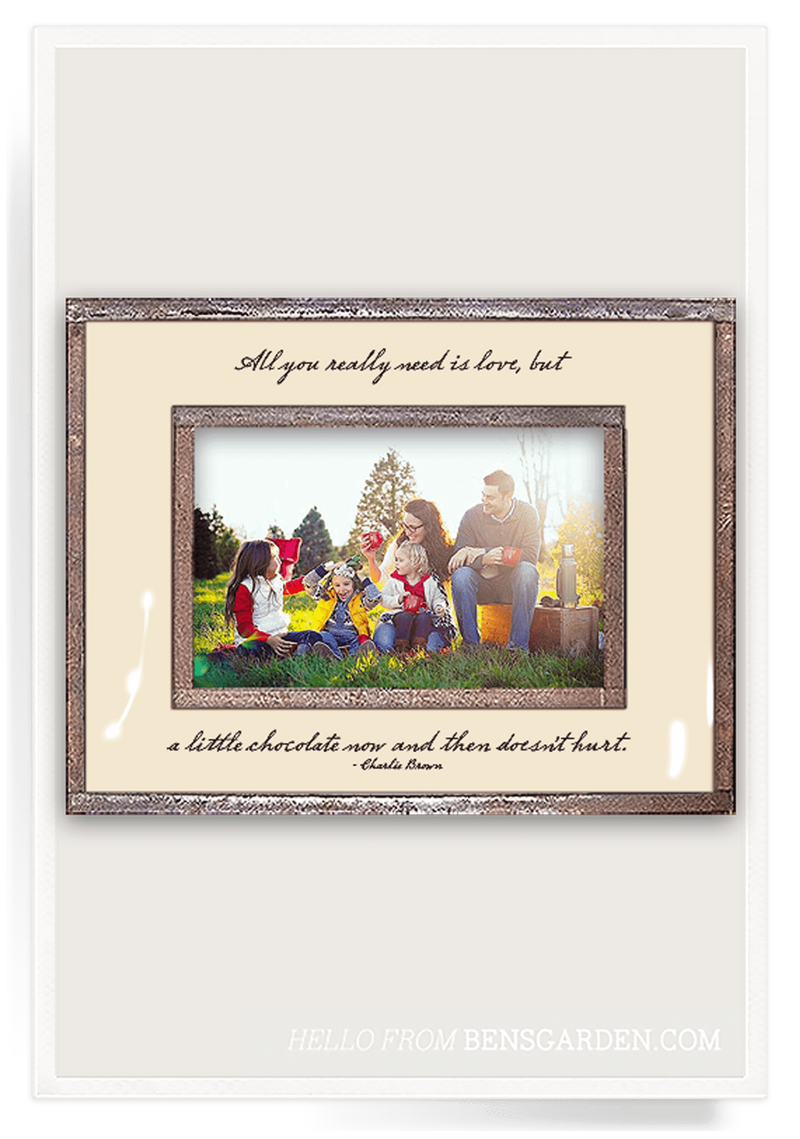 Bensgarden.com | All You Really Need Is Love, But A Little Chocolate Copper & Glass Photo Frame - Bensgarden.com