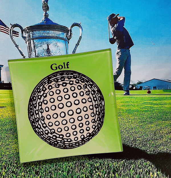 Hole In One Golf Ball Decoupage Glass Tray