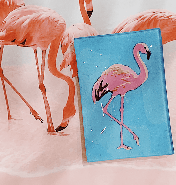 Bensgarden.com | Pinky The Flamingo Decoupage Glass Tray - Bensgarden.com