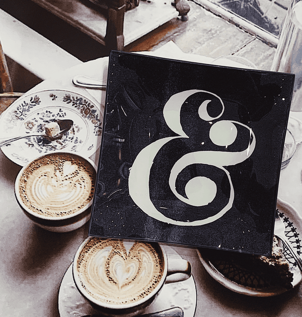 Bensgarden.com | Graphic Ampersand Decoupage Glass Tray - Bensgarden.com