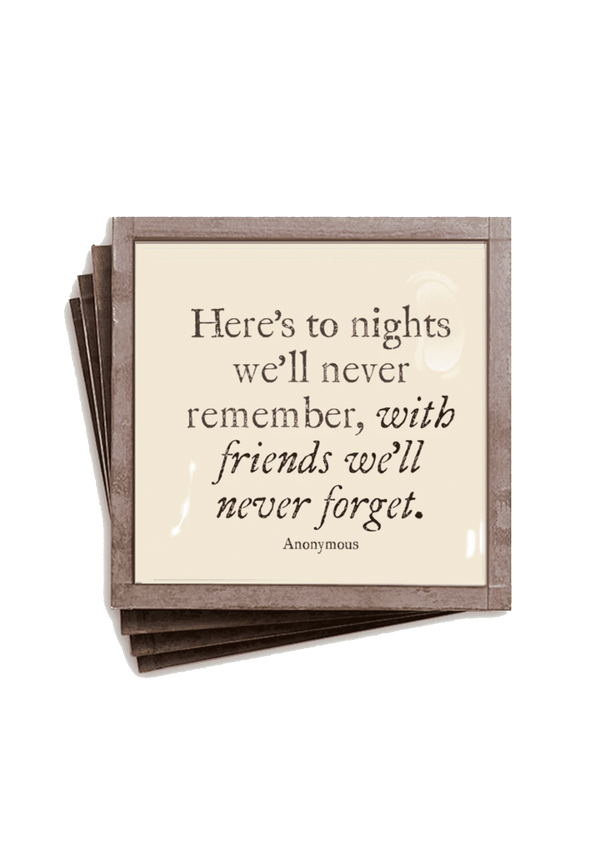 Min. Case Pack of 2 // Here's To Nights Copper & Glass Coasters, Set of 4