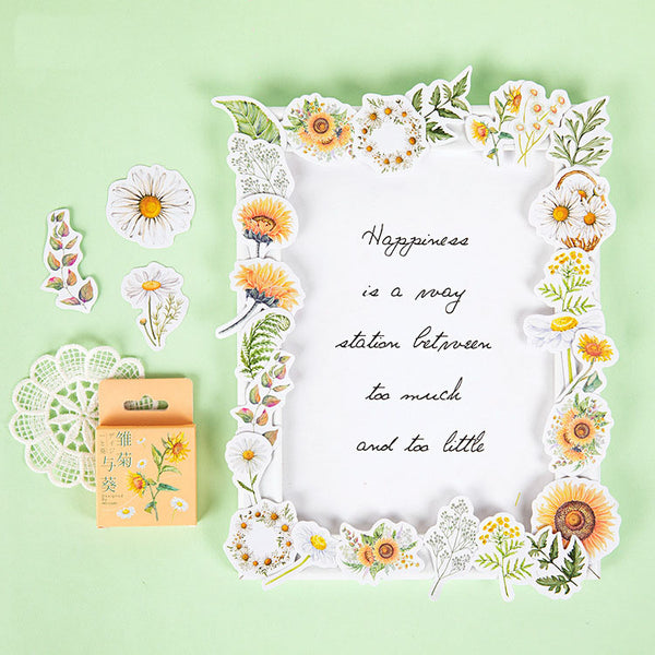 46 PCS Daisy & Sunflower Flowers Stickers