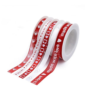 5pcs Love White and Red Ribbon