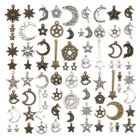 76pcs Alloy Star Moon Silver Pendants