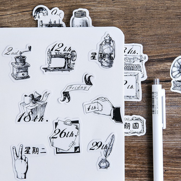 45PCS Black White Diary Decorative Stickers