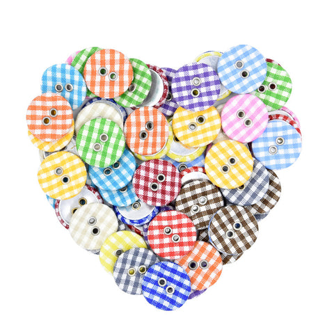 56pcs Creative Round Decorative Plaid Buttons