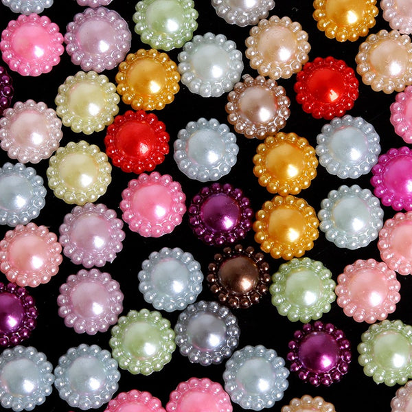 50pcs Multi-color Sunflower ABS Imitation Pearl