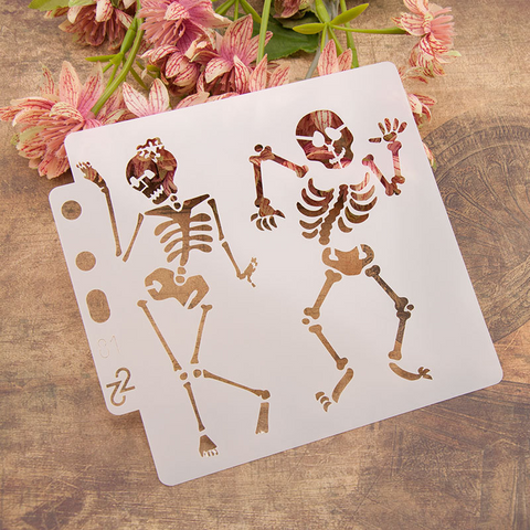 Skull Dance Layering Stencils Painting Template