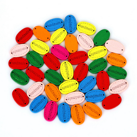 50pcs Oval Cartoon Printed Wooden Buttons