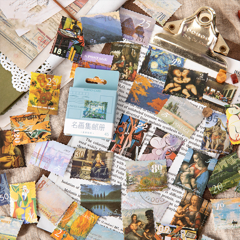 45PCS Famous Paintings Stamp Collection Decorative Stickers