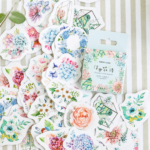 46PCS Flower World Decorative Stickers