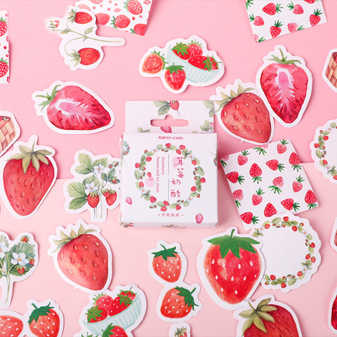 45PCS  Strawberry Cheese Decorative Stickers