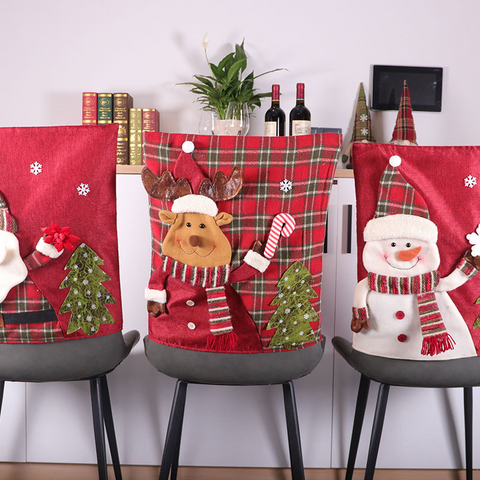 Christmas Red Plaid Linen Chair Cover