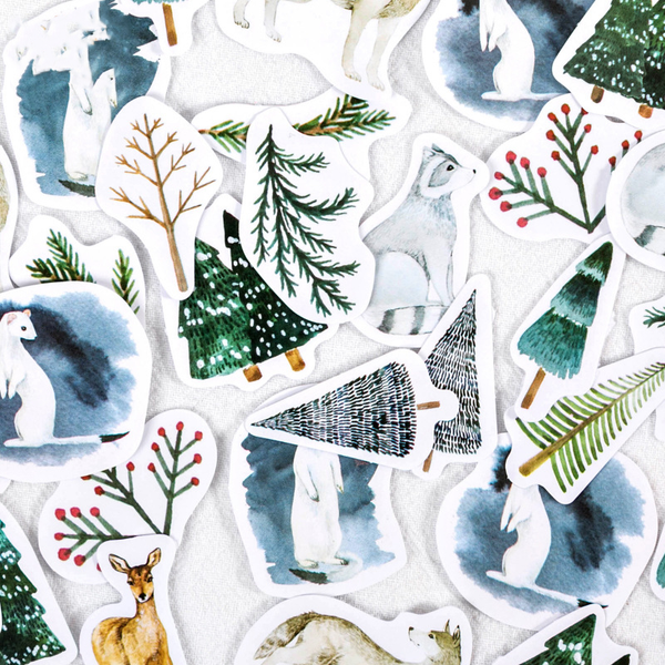 45PCS Christmas Forest Decorative Stickers