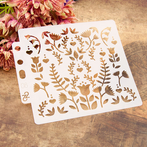 Flowering Plants Layering Stencils Painting Template