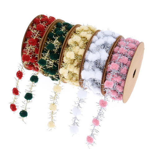 Golden Silver Iron Wire Ball Christmas Ribbon